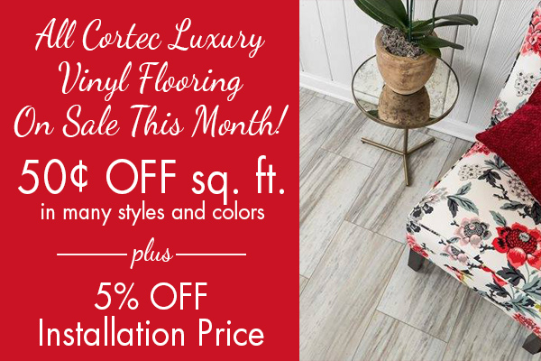 All COREtec Luxury Vinyl Flooring on sale this month! 50¢ off sq.ft. in many styles and colors. Plus 5% off installation price! Albertson's Abbey Carpet & Floor in Benicia, California