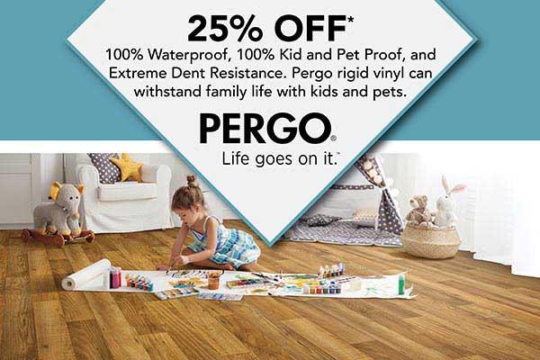 Save 25% off Pergo LVT & LVP Flooring at Albertson's Abbey Carpet in Benicia