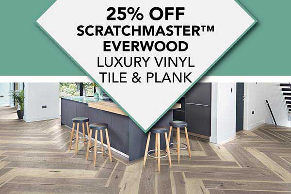 Save 25% off Scratchmaster Everwood LVT & LVP Flooring at Albertson's Abbey Carpet in Benicia